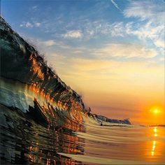 Sunset reflecting off a wave