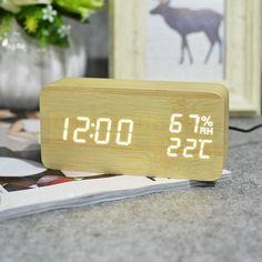 FiBiSonic Wood Wooden LED Alarm Clock,Despertador Temperature Humidity Electronic Desktop Digital Table Clocks