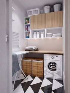 Simple laundry room with a big statement on the floor