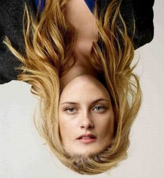 These are more funny photomontages of celebrities with upside down heads. They are photos of real celebrities who just have their heads on upside down. It is amazing what a little Photoshop can do.