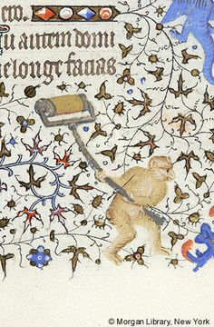 Monkey, raising roller with both hands | Book of Hours | France, Paris | ca. 1420-1425 | The Morgan Library & Museum