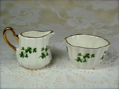 Miniature Bone China Shamrock Pitcher and Bowl by Sandford of England