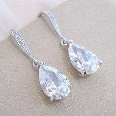 Orecchini da sposa, sposa orecchini, orecchini da sposa a goccia cristallo piccolo gioielli di nozze penzolare orecchini