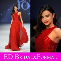 Miranda Kerr Red Sequined Chiffon Prom Evening Dress Floor Length Celebrity Gown vestido longo de festa