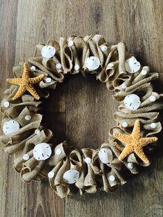Beach Burlap Wreath by ValsShabbyShack on Etsy