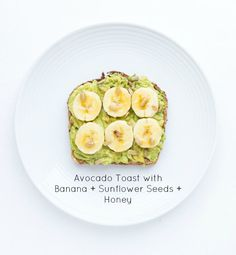 Easy and quick banana + sunflower seeds + honey avocado toast. Click on picture to see more ways to top an avocado toast, all with fresh ingredients | littlebroken.com @littlebroken