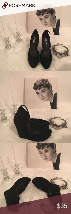 Steve Madden Suede Black Leather Wedge Heels Steve Madden Black Suede Leather Wedge Heels. Look good with any outfit. Steve Madden Shoes Wedges