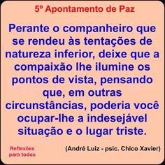 5º Apontamento de Paz (Chico Xavier) Clique na imagem e acesse esta reflexão, com link para texto completo com os Dez Apontamentos de Paz.