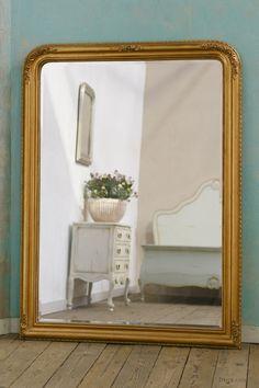 Louis Philippe Fleur Gold Gilt Leaf Bevelled Mirror: For sale at www.DUSX.com