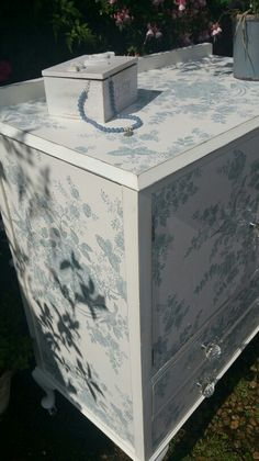 Shabby chic tallboy painted in Annie Sloan's Pure with Ralph Lauren's Dauphine wallpaper decoupage, by Imperfectly Perfect xx