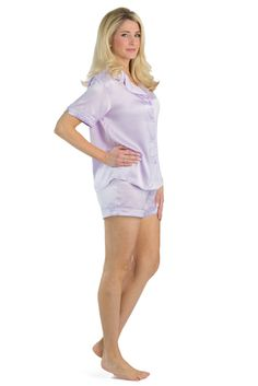 Women's Short Sleeve Silk Pajama Set | Short sleeves, Sleeve and ...
