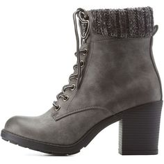 Charlotte Russe  Sweater Cuff Lace-Up Hiking Booties ($4.49) ❤ liked on Polyvore featuring shoes, boots, ankle booties, ankle boots, grey, grey ankle boots, chunky-heel ankle boots, grey ankle booties, lace-up ankle boots and leather lace up boots