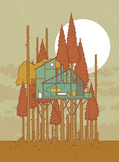 Modern Treehouse // Illustration by Invisible Creature Invisible Creature, Postcards From Italy, Design Art, Graphic Design, Architecture Drawings, Artist Gallery, Poster Prints, Art Prints, Print Artist