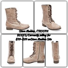 """USED 1x/STEVE MADDEN/Style:Troopa Combat's/Bone EUC/only worn 1x perfect for Spring/Summer wear/Steve Madden's/Troopa Combat Boots/color bone/side zip/+on/off/lace up fronts,tighten/loosen the fit/Size 7.5/Tru 2 SZ fit/w BOX b/c I found it! /If you really need one,I'll try to get you one? NO promises there!STATS:Leather upper material w leather lining/Rubber Sole/1.0""""heel height/welt,lug,heel/12""""Shaft circumference/7.75""""Shaft Height/Stock PHOTOs show wearing style! MSRP/straight off Steve…"""