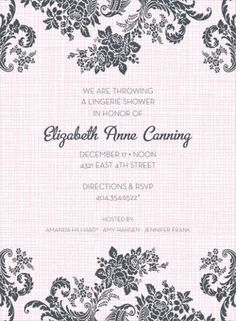 Rose Linen Pink Lingerie Shower Invitation by Noteworthy Collections - Invitation Box