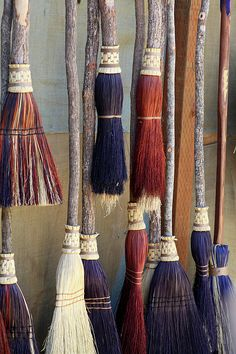 No witch would be complete without her broom! Handmade brooms are the best! Brooms And Brushes, Which Witch, Witch Broom, Broom Corn, Ginny Weasley, Practical Magic, Kitchen Witch, Book Of Shadows, Wiccan