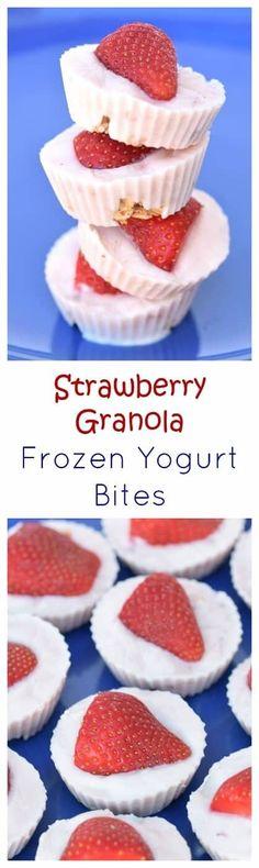 Gorgeous Strawberry Granola Frozen Yoghurt Bites Recipe - delicious and fun snack idea for summer - so easy to make with just 3 ingredients - Eats Amazing UK #kidsfood #easyrecipe #snack #healthysnacks #cookingwithkids #yogurt #frozenyogurt #strawberries