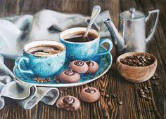 """Watercolor painting / Натюрморт ручной работы. Ярмарка Мастеров - ручная работа. Купить акварель """"Кофе вдвоем""""/оформлена/. Handmade. Коричневый, утро, аромат, осень"""