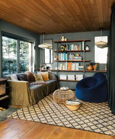 A classic Auckland unit gets the star renovation treatment Style At Home, Semi Detached, Cool Things To Make, Bookcase, Sweet Home, The Unit, Shelves, Living Room, House Styles