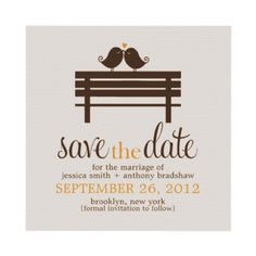 Love Birds Bench Wedding Save the Date Announcements