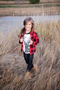 Red/Black Flannel Top, Long Sleeve Top, Ryleigh Rue Clothing, Girl's Boutique, Online Shopping, Cute, Girl's Fashion