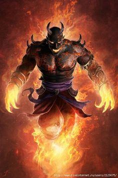 Ifrit (Elemental/Jinn/Shapeshifter)(Large) – Masters of fire, these cruel fiery Djinn species hunt for the souls of other creatures, most of which they gain by false promises as Ifrit can't for fill wishes. They are among the most powerful of all fire-using creatures though and many other fire creatures serve them out of fear. They can animate fire and control their own size.