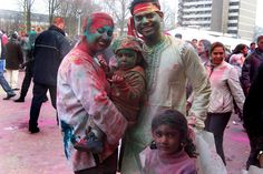Celebration of Holi, also called Festival of Colors, at the end of the winter season on the last full moon day of the lunar month Phalguna or March; The Hague  (Photo courtesy: Den Haag Marketing/City Mondial)