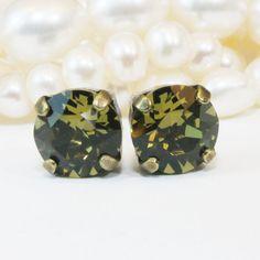 Khaki studs Olive Green 8mm Crystal Single Stone Stud by TIMATIBO