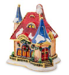 """Шкатулка """"Рождественский домик"""" SMT-43 (Nobility)   Бренд: Nobility (Гонконг);    Страна производства: Китай;   Материал: металл;   Длина: 7,5 см;   Ширина: 4,5 см;   Высота: 6,5 см;   Вес: 0,3 кг;"""