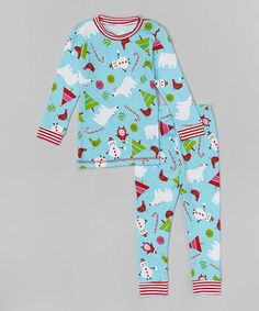 Another great find on #zulily! Aqua Snowman Pajama Set - Infant, Toddler & Girls #zulilyfinds