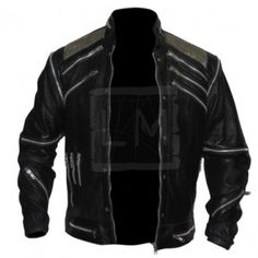 Michael Jackson Black Biker Leather Jacket from the music video Beat It.  Available in red or white or black