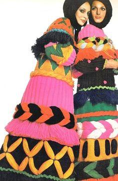 Vogue September 1969 - Mexican Fiesta! Mirella Pettini and Berkley Johnson wearing  woolen coats by Carosa, photos by Barbieri: