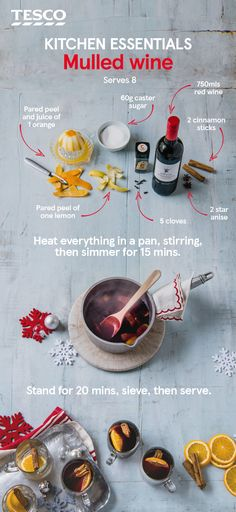 Enjoy a warming glass of hot mulled wine with our easy recipe for this essential Christmas tipple. The ultimate winter warmer, our fruity, spiced mulled wine will be sure to banish the chill and get you in the festive spirit. | Tesco #mulledwine