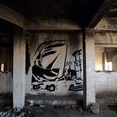 Minimal work by @olgaalexopoulou #globalstreetart #art #painting #car #mural http://globalstreetart.com/olga-alexopoulou