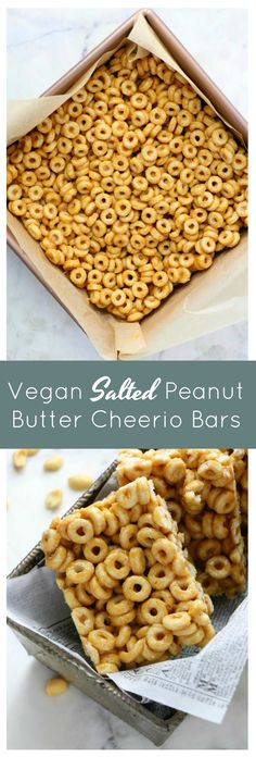 4 Ingredient Vegan Salted Peanut Butter Cheerio Bars - Eat. Drink. Shrink.