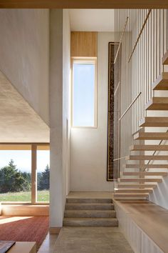 Contemporary Duplex House Designed in Passive House Concept: Open Indoor Staircase Combined With Tiled Flooring And Wooden Window And Decora. Portland Architecture, Architecture Résidentielle, Sustainable Architecture, Amazing Architecture, Stairs And Staircase, House Stairs, Staircases, House 2, Stairway
