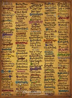 AnnieLaurieArt Names of God Canvas- AWESOME!! Hallow your name Lord.