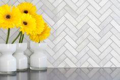 Carrara Herringbone Mosaic Tile + Whisper Gray Grout