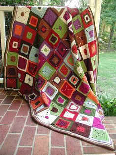 Red Heart Granny Square Afghan.