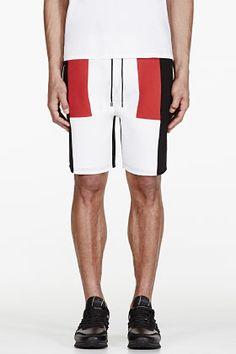 Neil Barrett White Colorblocked Neoprene Shorts for men | SSENSE