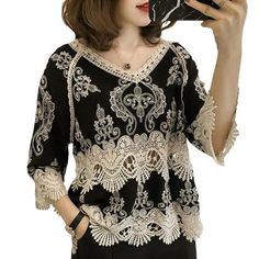 7cb5d2feebc7e3 Women Blouses 2018 Summer Fashion Patchwork Vintage Hollow Out Casual Lace  Blouse Shirts Female Elegant Embroidery