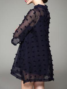 Dark Blue Asymmetric Crew Neck Plain Sweet Mini Dress