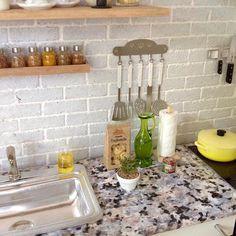 Miniature kitchen scene closeup. Modern kitchen