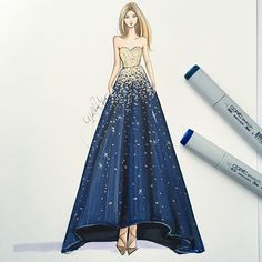 @reem_acra sketched with @copicmarker and a bit of gold leaf metallics ✨. See her shine best on ...