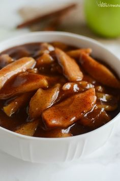 Crock Pot Cinnamon Apples - easy and delicious spiced apples! Perfect served with ice cream, on pancakes, or eaten with a spoon! ~ http://www.julieseatsandtreats.com