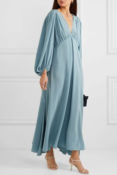 Blue Sante gathered silk crepe de chine maxi dress | The Row | NET-A-PORTER Hijab Fashion, Fashion Outfits, Boho Outfits, Silk Charmeuse, Silk Crepe, Skirt Outfits, The Row, Cold Shoulder Dress, Formal Dresses