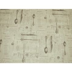 Cutlery with French menus curtain fabric Curtain Fabric, Curtains, Menu Design, Cutlery, Interior Decorating, French, House, Products, Blinds