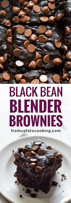 These Mexican Black Bean Blender Brownies are chocolatey, easy to make and are completely flourless. All you need is a can of black beans! Seriously one of the best dessert recipes ever! (Gluten free, Vegetarian, Grain Free) via Brownie Desserts, Healthy Desserts, Fun Desserts, Delicious Desserts, Paleo Brownies, Healthy Mexican Dessert, Desserts With Honey, Low Sodium Desserts, Easy Brownies