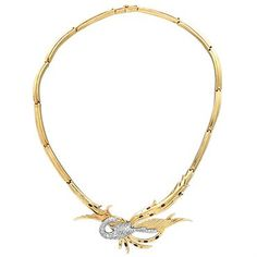 Erte Juno 14k Gold Sterling Silver Diamond Ruby Bird Brooch Necklace