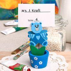 Teddy Bear/Flower Pot Place Card/Photo Holder (Pink or Blue)